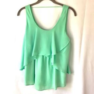 MINE Top Blouse Tank Layered Size Small Green